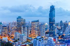 Bangkok financial district, business building and shopping mall center at Southeast Asia. Thailand Royalty Free Stock Photo