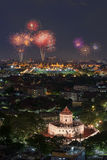 Bangkok with fireworks at night Stock Images