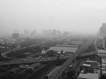 Bangkok is full of fog. Rarely moment in Bangkok city, Thailand. The fog is covering the whole town, not normal to see in Bangkok Stock Photos