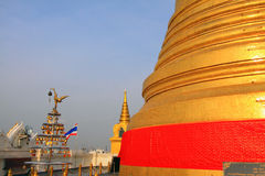 Bangkok Golden Mountain Temple And Thailand Flag Stock Image