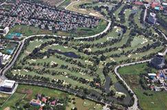 Bangkok golf course. Aerial view of golf course in Bangkok Royalty Free Stock Photos