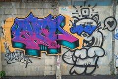 Bangkok graffiti ściana Zdjęcia Royalty Free