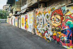 Bangkok graffiti ściana Zdjęcie Royalty Free