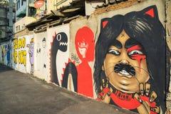 Bangkok graffiti ściana Obraz Stock