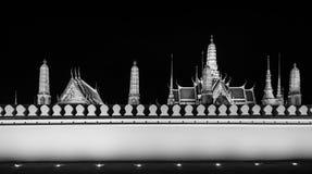 Bangkok Grand Palace at night, Black and white. Bangkok Grand Palace wall at night, Black and white photo Stock Images