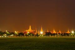 Bangkok grand palace and the temple of the Emerald Buddha. Bangkok landmark, grand palace and the temple of the Emerald Buddha, the Pramane Ground at night Royalty Free Stock Images