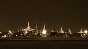 Bangkok grand palace and the temple of the Emerald Buddha. Bangkok landmark, grand palace and the temple of the Emerald Buddha , the Pramane Ground at night in Royalty Free Stock Image