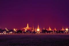 Bangkok grand palace and the temple of the Emerald Buddha. Bangkok landmark, grand palace and the temple of the Emerald Buddha, the Pramane Ground at night in Royalty Free Stock Image