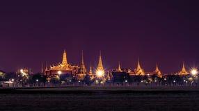 Bangkok grand palace and the temple of the Emerald Buddha. Bangkok landmark, grand palace and the temple of the Emerald Buddha, the Pramane Ground at night in Stock Image
