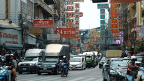 Bangkok heavy street traffic at China Town stock footage
