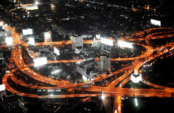 Bangkok highway. Bangkok Expressway and Highway, aerial view at night, Thailand Stock Images