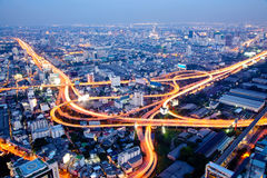 Bangkok Highway. The highest Aerial view of Bangkok Highway at Dusk in Thailand Royalty Free Stock Photography
