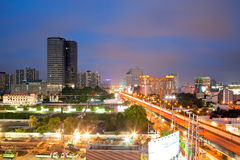 Bangkok Highway and building at downtown Royalty Free Stock Photos