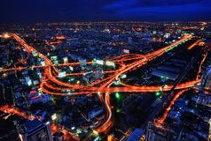 Bangkok Highway Cross at Night. Taken in 2011 Stock Photo