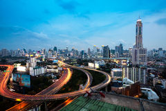 Bangkok Highway at Dusk with skyline Royalty Free Stock Image