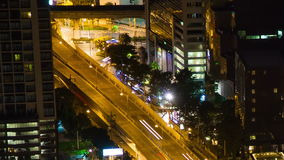Bangkok highway street traffic night time lapse stock video footage
