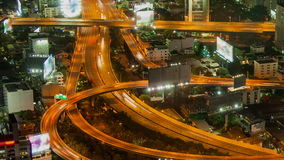 Bangkok highway street traffic night timelapse stock video