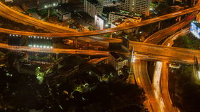 Bangkok highway street traffic night timelapse stock video footage