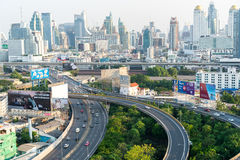 Bangkok Highways. Bangkok roads intersect as traffic comes and gos from the large city. Thailand, 2016 Royalty Free Stock Image