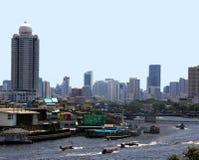 Bangkok horisont och Chao Praya River Fotografering för Bildbyråer