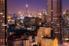 Bangkok horisont på natten Fotografering för Bildbyråer