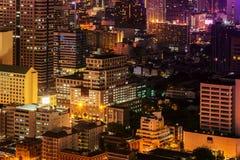 Bangkok horisont på natten Arkivfoton
