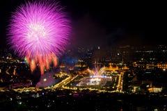Bangkok i thailändsk dag för fader` s vår konungfödelsedagfestival, Thailan Arkivfoton