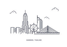 Bangkok inline illustration vector Royalty Free Stock Photos