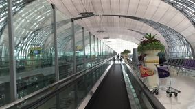 Bangkok International Airport. Inside view of Departure Hall in Bangkok International Airport, Thailand stock video footage
