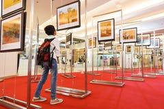 BANGKOK-JAN 05: Unidentified Thai boy looking at photos in 'Magical Kenya by Mr.David Lao' photo exhibition at Siam P. BANGKOK-JAN royalty free stock photo
