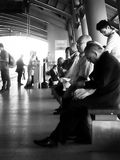 BANGKOK - JAN 15: Asian people waiting for Airport-link train in Stock Photography