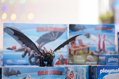 Bangkok - Jan 12, 2019 : A photo of the Night Fury, the main dragon character from How to train your dragon by playmobil. How to stock photos