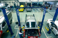 BANGKOK - JAN 31: Top view of the workshop service station in Bangkok on January 31, 2015, Thailand. The official dealer of Toyota Stock Photos