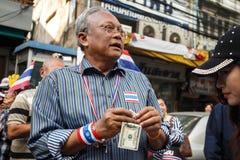 BANGKOK - JANUARI 9 2014: Suthep ledare av anti-regeringen Arkivfoto