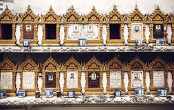 BANGKOK, JANUARY 22, 2014: Buddhist graves in a temple in Bangko Stock Photography