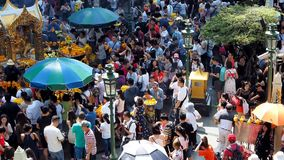 Foreigners and local people visit Erawan Shrine stock footage
