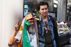 BANGKOK - 13 JANVIER 2014 : Protestataires contre le gouvernement ral Image stock