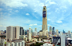 Baiyoke tower with surroundings buildings and clouds at Bangkok Royalty Free Stock Photography