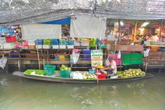 Farmer selling fruit vegetable and food on boats. Stock Photography