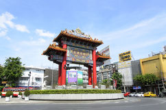 BANGKOK - July 7: Gate of Chinatown Yaowarat Road, heart. BANGKOK - July 7: Gate of Chinatown on july 7, 2014 in Bangkok, Thailand. Arch marks the beginning of Stock Photo