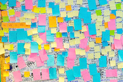 Bangkok - June 9: Colorful Post It Notes with suggestions on the. Walls at the Bangkok Art and Culture Center on June 9, 2014 in Bangkok, Thailand royalty free stock photos