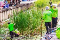 Bangkok kommunal personal i kanal som muddrar arbete för att dumpa vegetatio Royaltyfria Foton