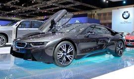 Bangkok, Kwiecień - 2: BMW serii I8 innowaci samochód Zdjęcia Royalty Free