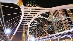 Bangkok Landmark at night, Sathorn bridge intersection. Bangkok downtown at night, Bangkok Landmark Sathorn bridge intersection on Sathorn road, Bridge stock video