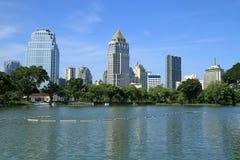 Bangkok landscape from Lumpini park Royalty Free Stock Image