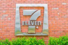 Bangkok landskap, Thailand - Maj 09, 2016: 7-Eleven logo - 7-El Royaltyfria Foton