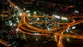 Bangkok-Landstraßenstraßenverkehrs-Nacht-timelapse stock video