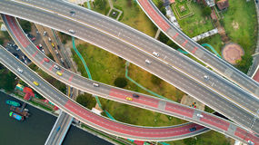 Bangkok large road interchange top view Royalty Free Stock Photo