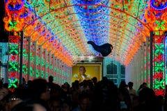 Bangkok ljus av lyckafestivalen Arkivbild