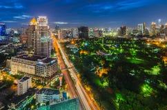 Bangkok and Lumpini park. At night Royalty Free Stock Images
